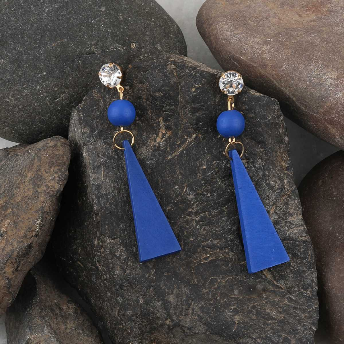 SILVER SHINE Exclusive Diamond Blue Wooden Earrings Long Dangler Light Weight for Girls and Women.