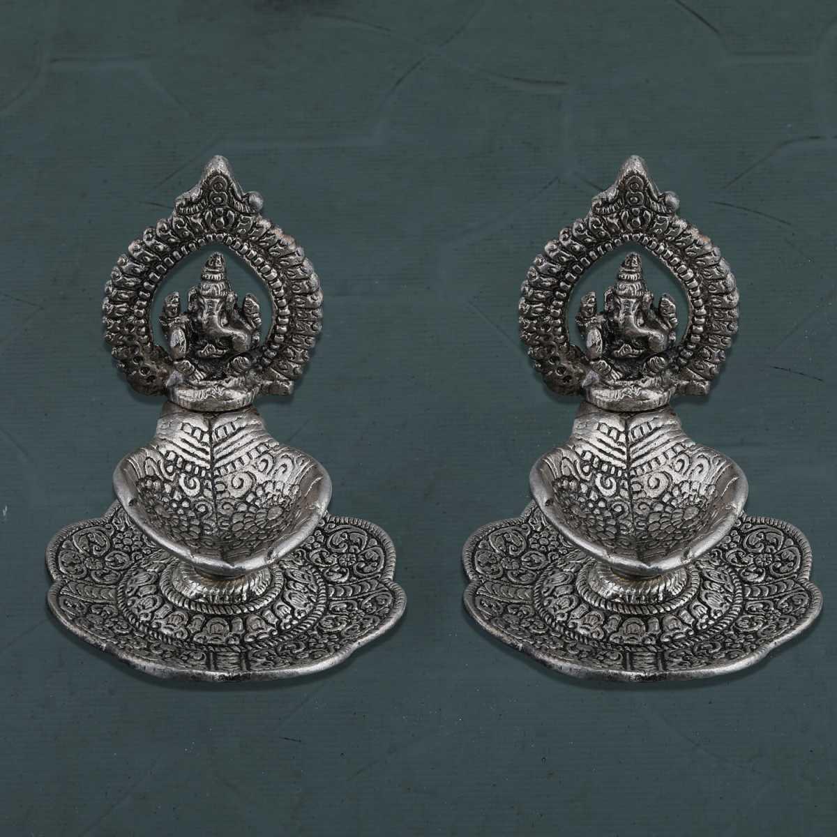 Silver Shine Silver Plated Oxidised Designer Ganesha Design Diya Set of 2