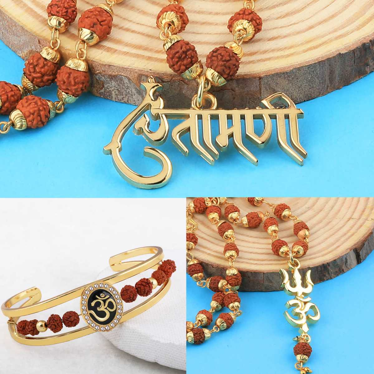 SILVER SHINE Gold Plated Traditional Combo Rudraksh Mala Pendant  for Men and Women-set 3