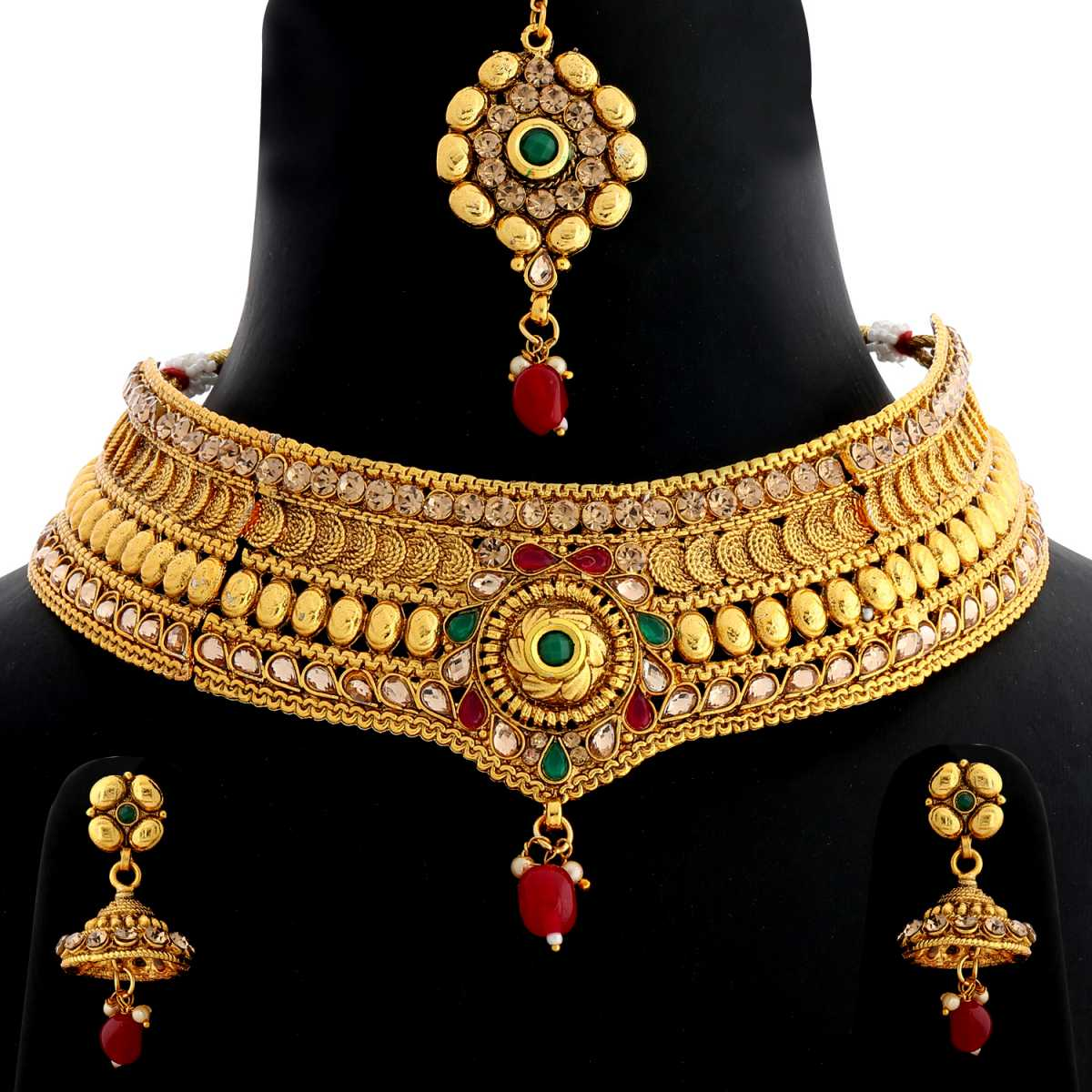 Silver Shine Gold Plated Choker  Traditional Antique Royal Kundan Red and Green Stone Studded Designer Wedding Necklace jewellery set for Girls And Women