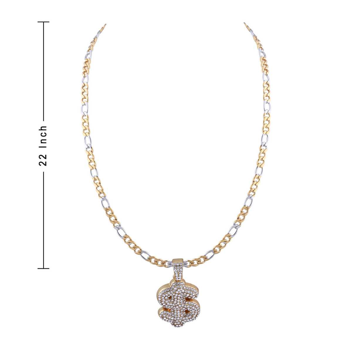 SilverPlated Attractive Figaro Chain With Doller Design pendant With Diamond Studded For Men and boy Jewellery