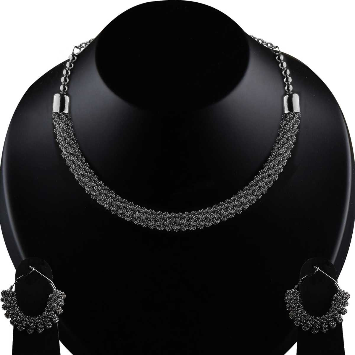 Silver Plated Black polish Designer Necklace Set for women Jewellery Set