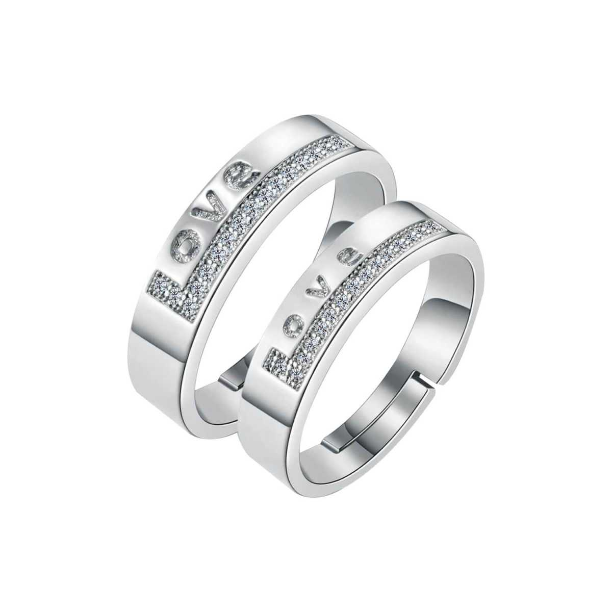SILVERSHINE,silver plated ring symbol of love decorated of diamond adjustable couple ring for men and women.