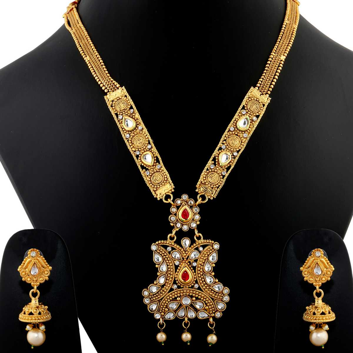 Silver Shine Exclusive Traditional Kundan Gold Plated Stone Studded Eye Cathching Necklace Set with Stunning Earring for bridal jewellery  Set  For Women And Girls