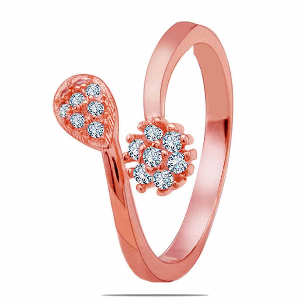 Rose-gold tail shape silver ring