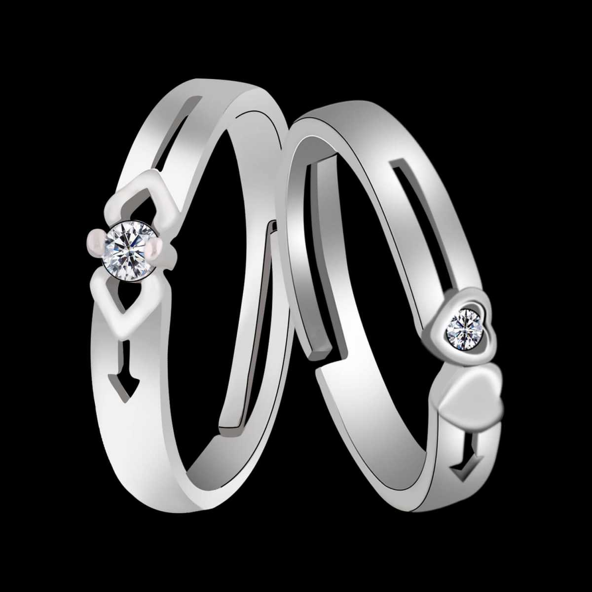 Silverplated Antique couple ring For Men And Women Jewellery