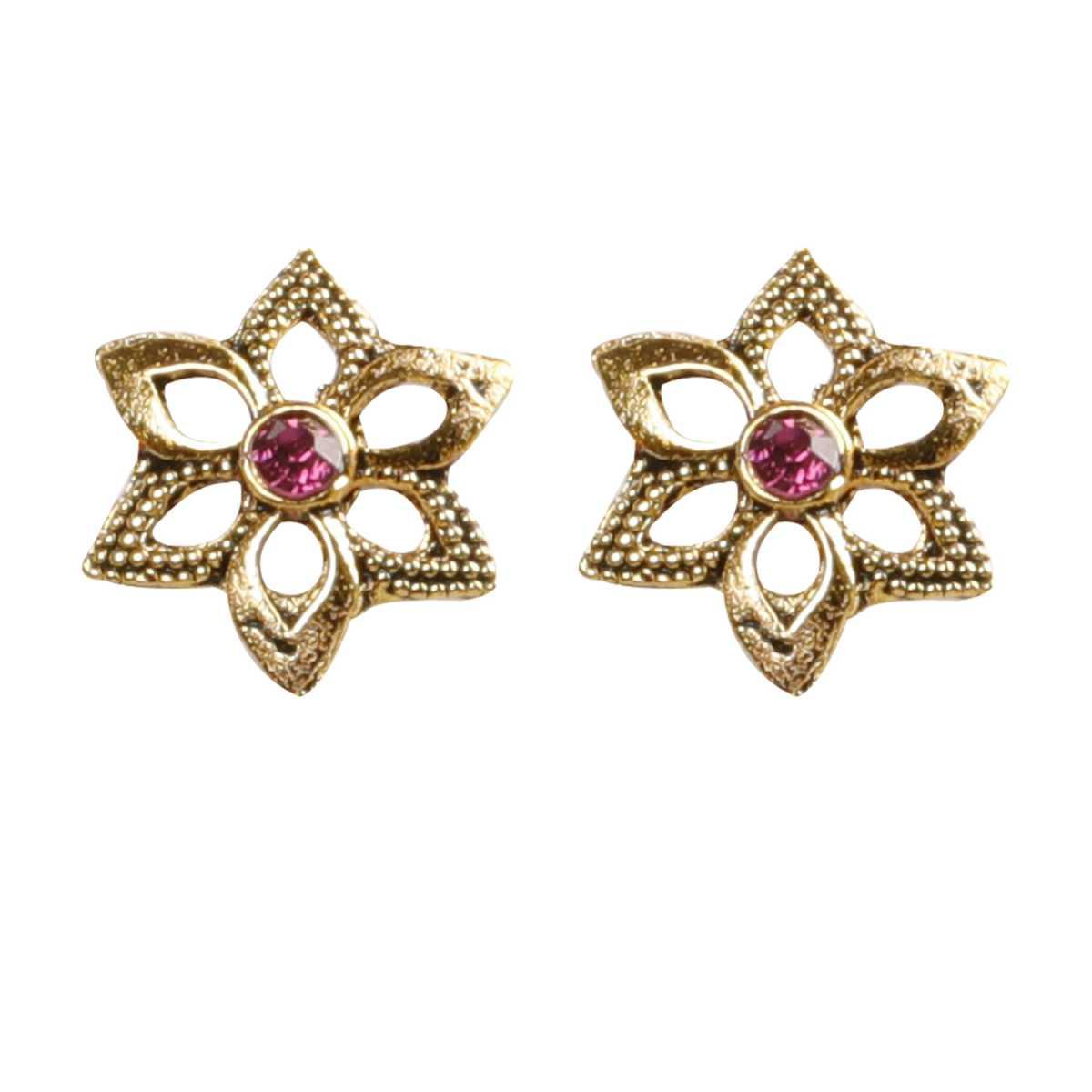 Silver Shine Gorgeous  Pink Flower Stud Earrings