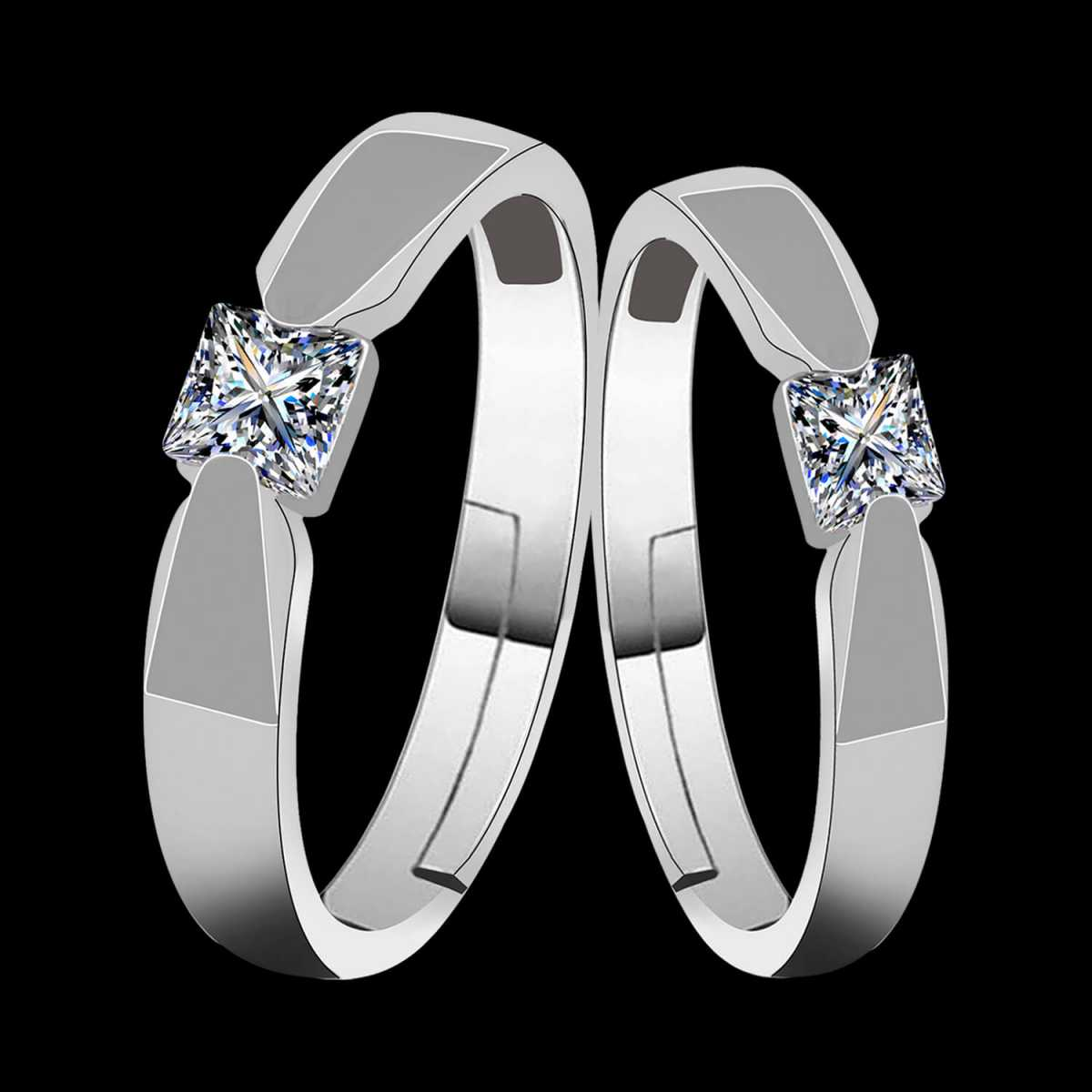Silverplated  Exclusive Square Solitaire couple ring For Men And Women Jewellery