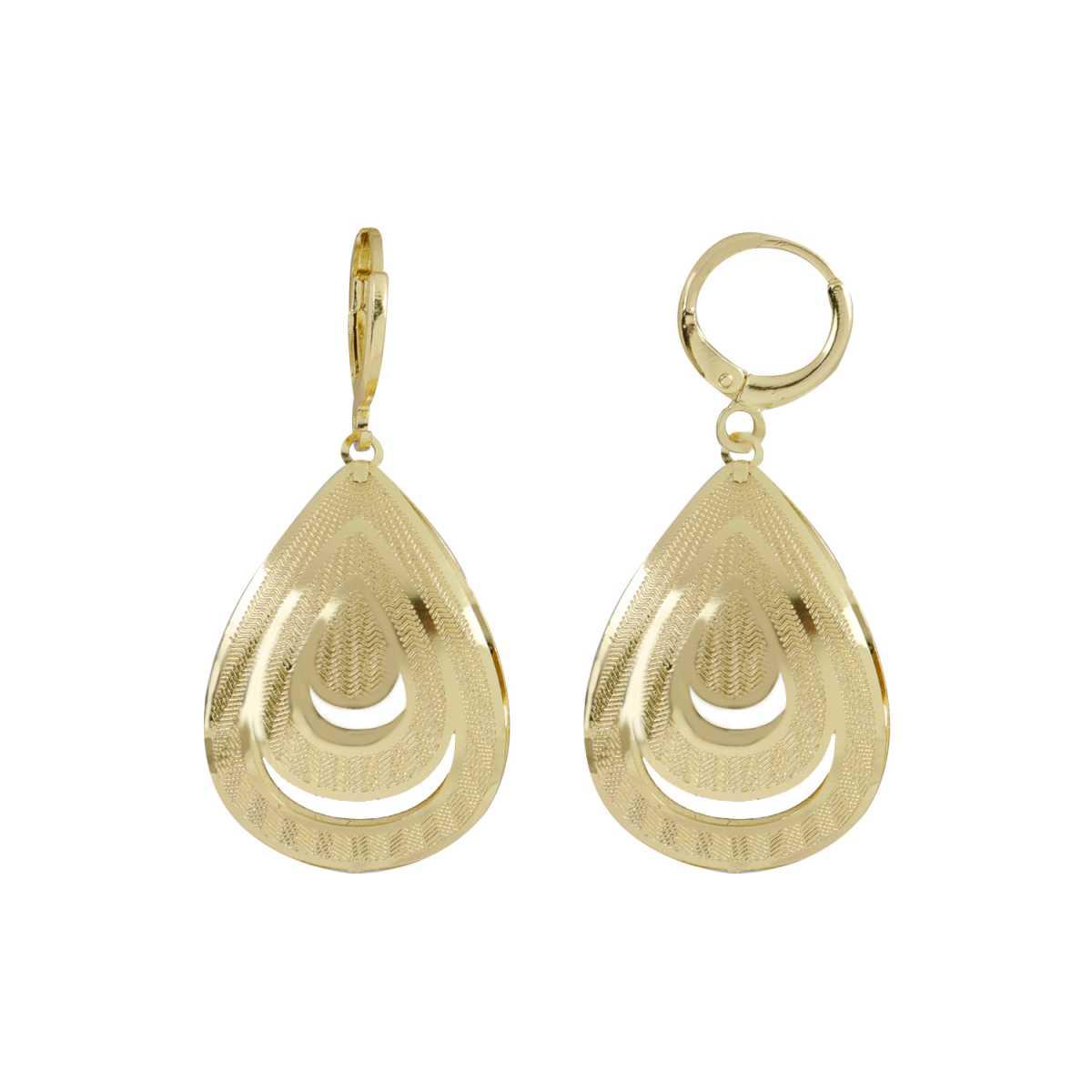 Silver Shine Modish Golden Drop Shape Clip On Bali Earring for Women