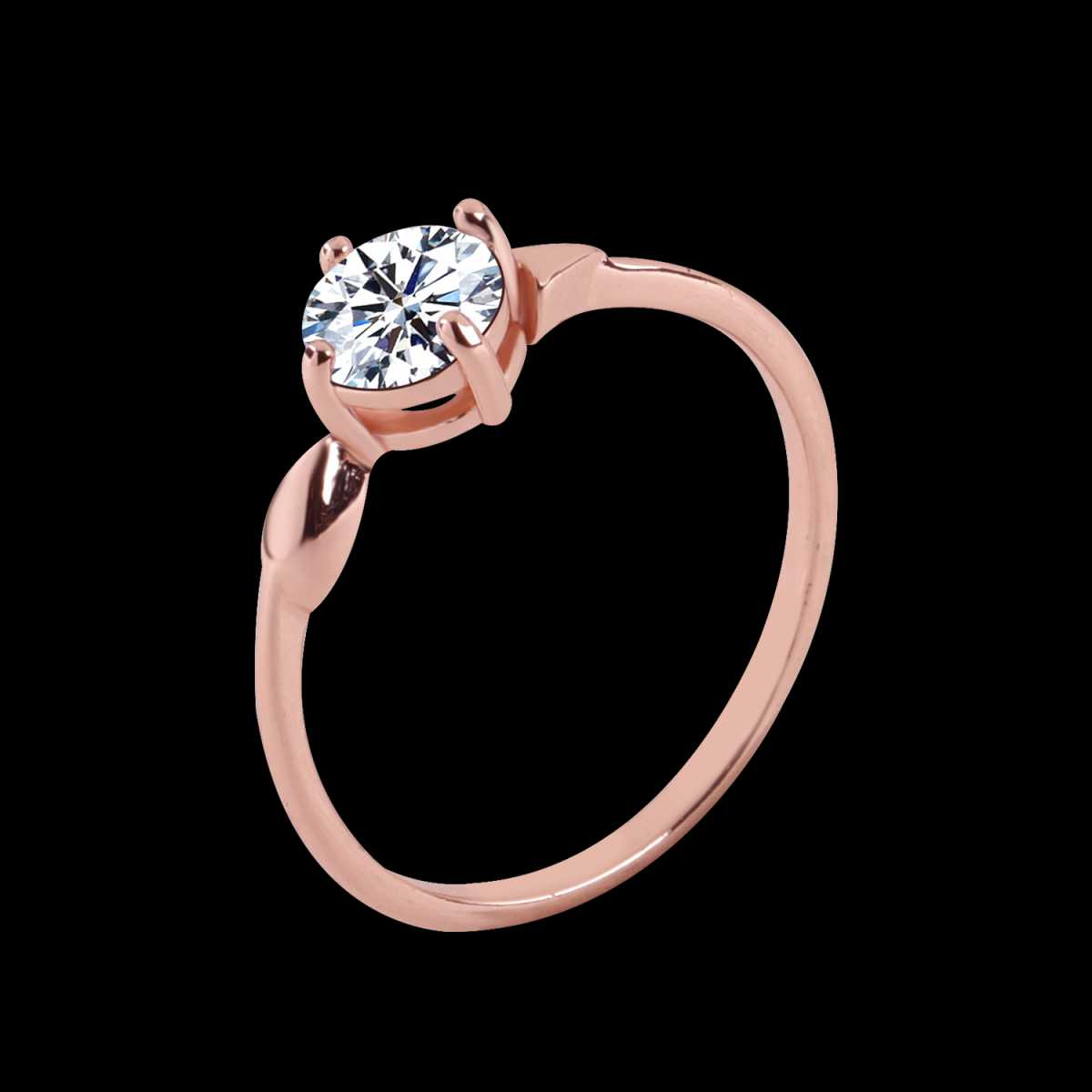 Silver Shine Rose Gold Plated Elegant Classic Crystal Solitaire Ring for Girls and womenwedding ring,jewelry,diamonds,fashion jewelry,couple rings