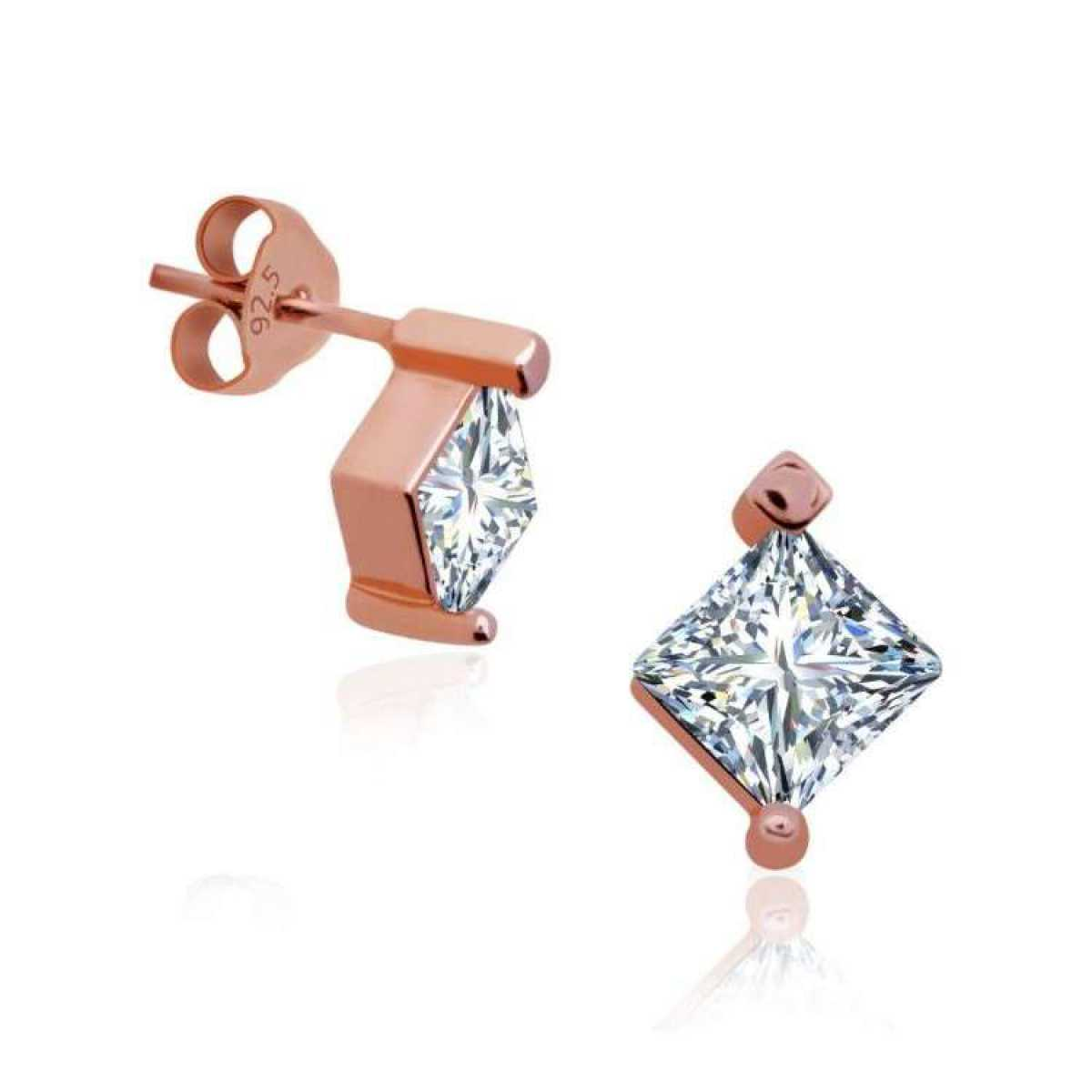 Rose Square Silver Earring