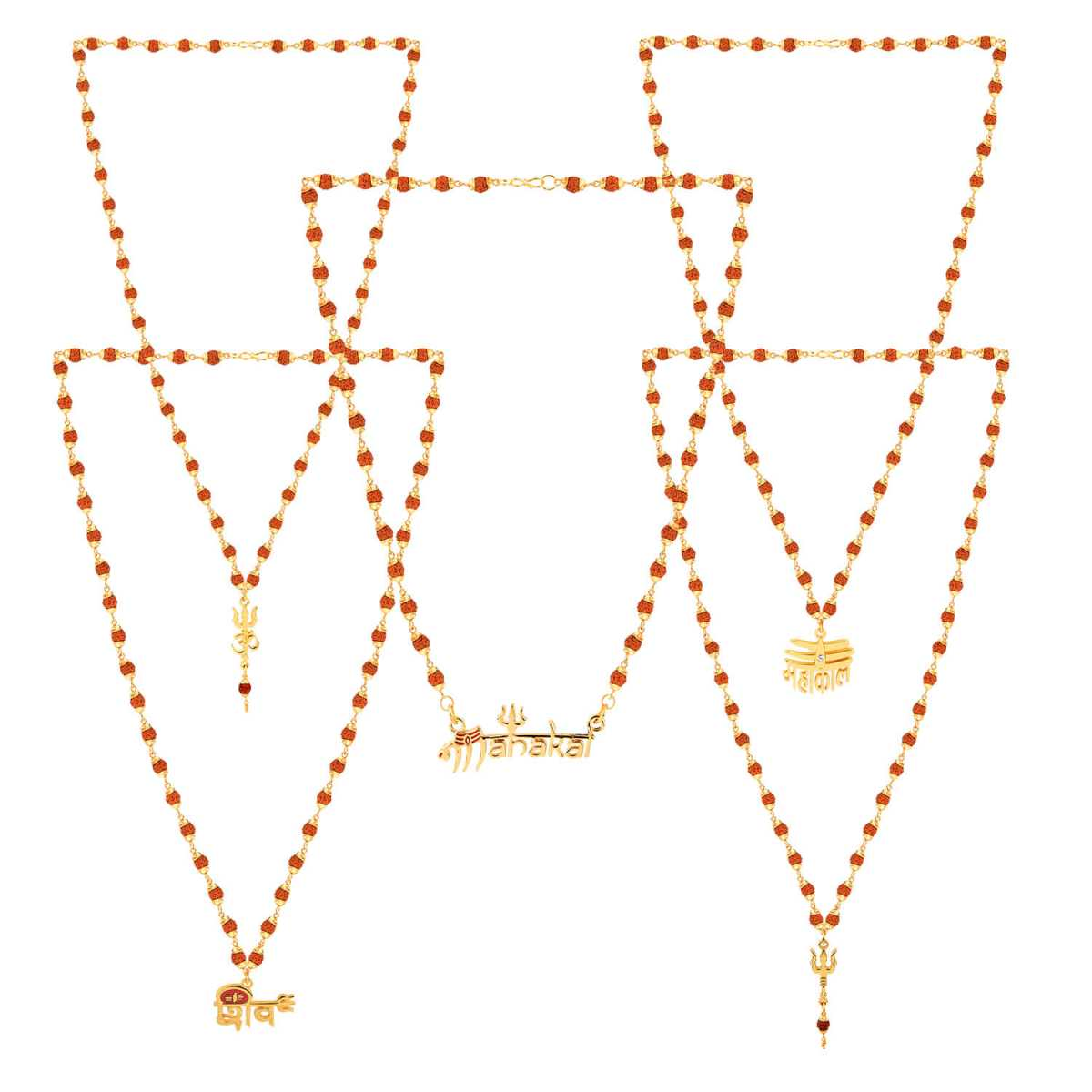 SILVER SHINE Gold Plated Traditional Combo Rudraksh Mala Pendant for Men and Women Set-5