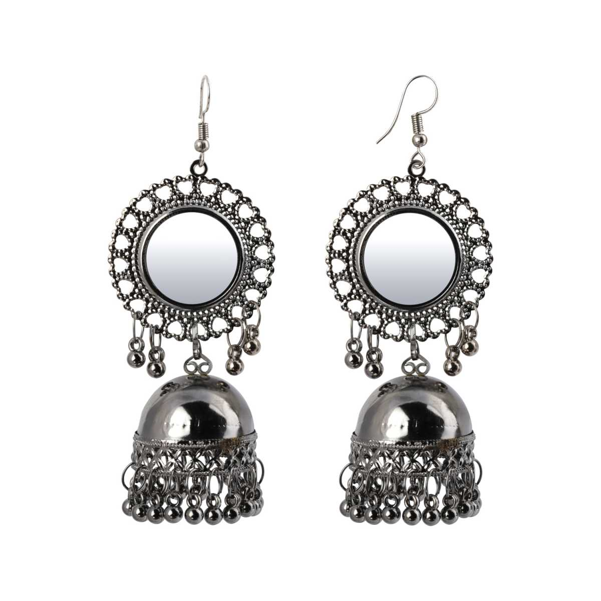 Silver Shine Trendy Silver Mirror Jhumki with Small Danglers Earrings for Women