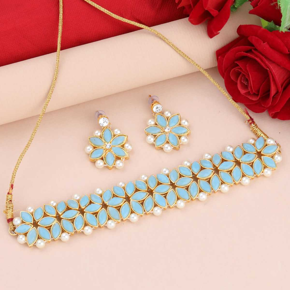 SILVER SHINE Gold Plated Exclusive Diamond Choker Set For Girls And Women