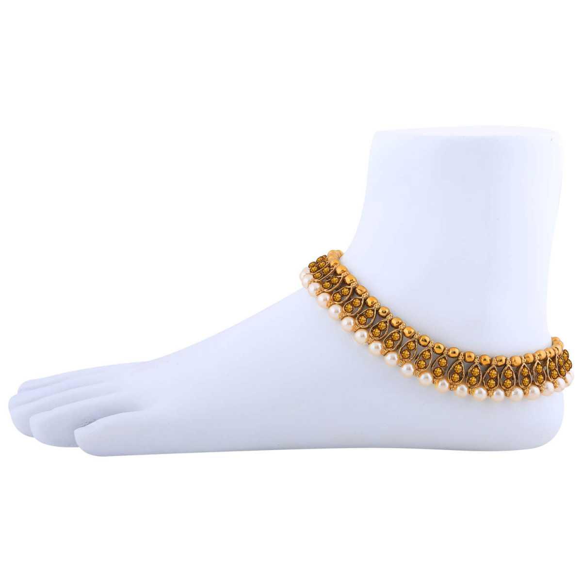 SILVER SHINE Antique Golden Kundan Anklet for Women And Girl