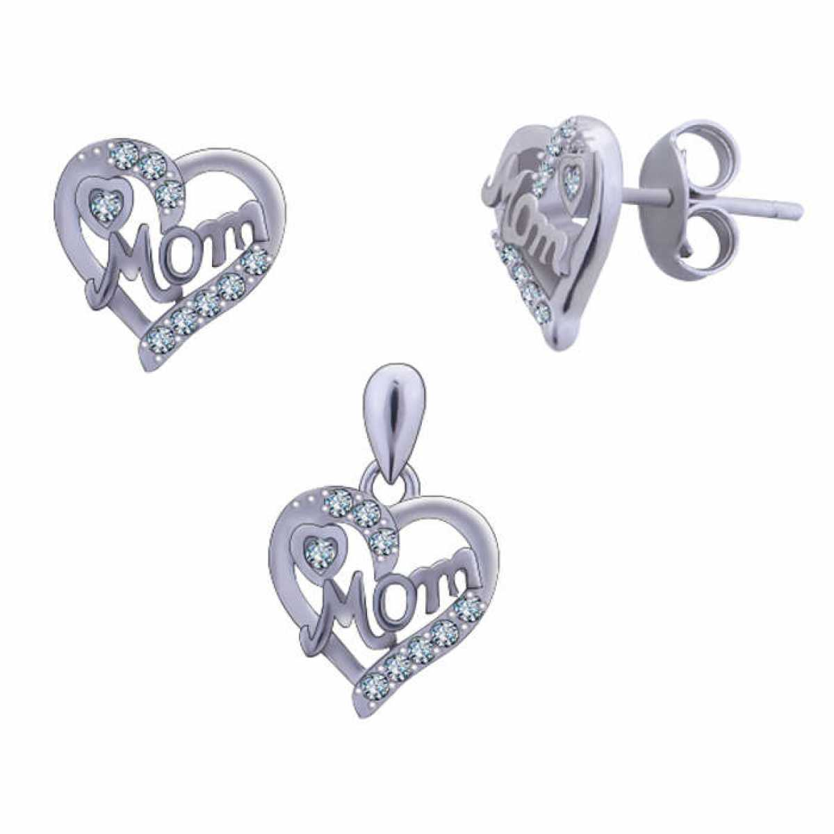 Love For Mom  Silver Pendant Set