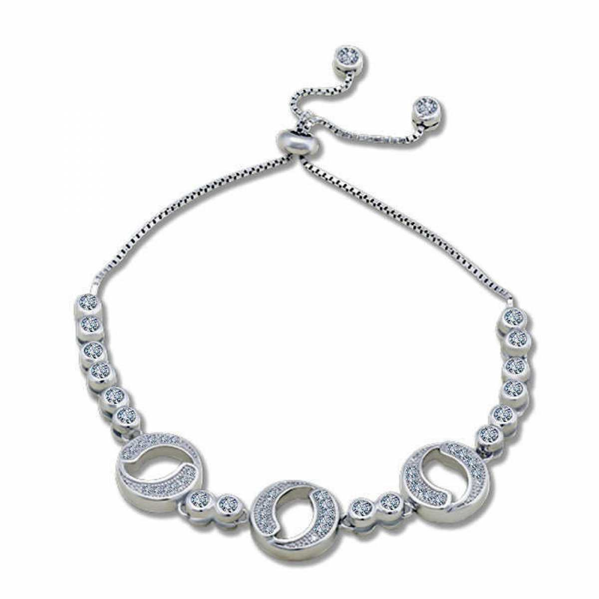 Three Circle  Silver Bracelet