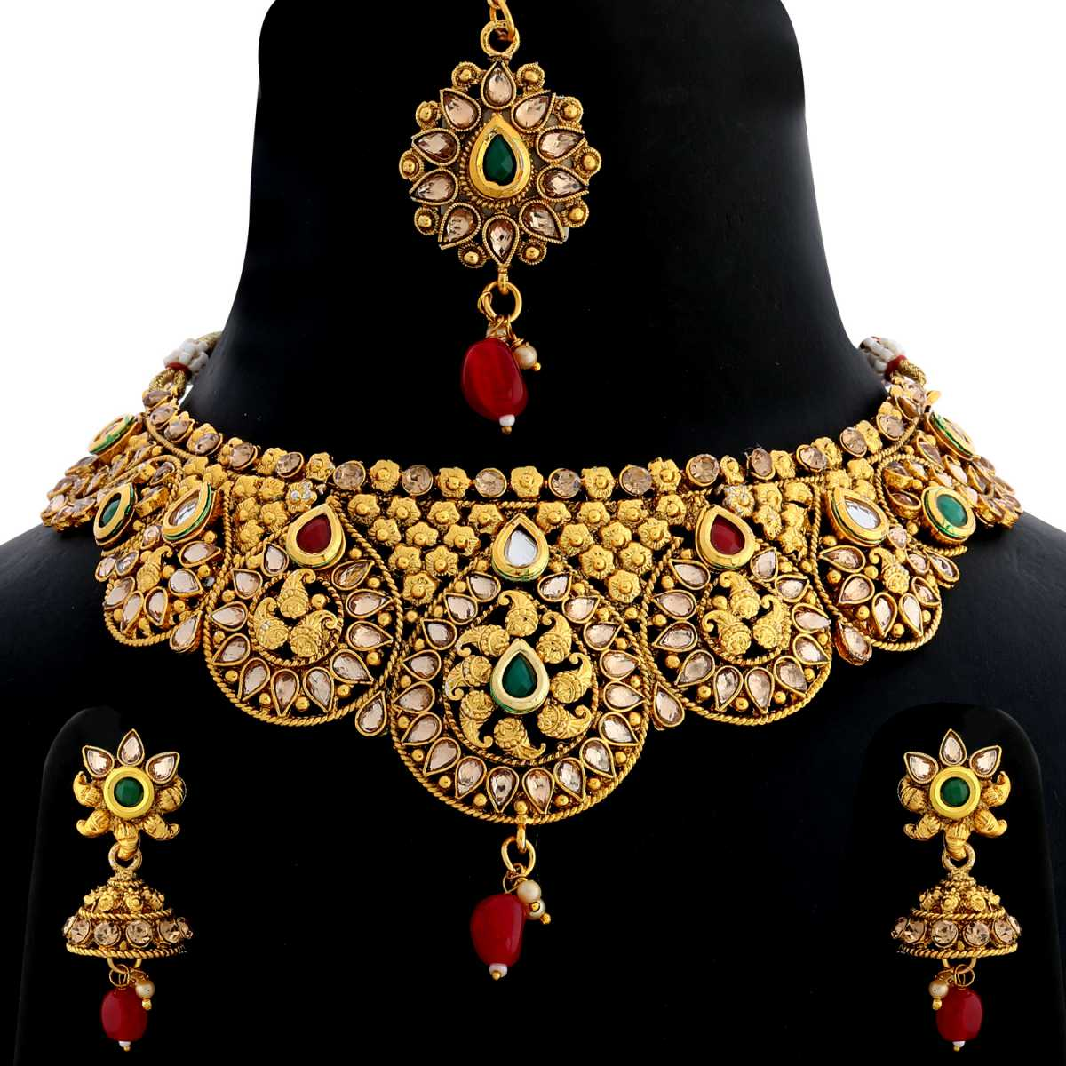 Silver Shine Gold Plated Choker  Traditional Antique Kundan Red and Green Stone Studded with Red Bead Drop Designer Wedding Necklace jewellery set for Girls And Women