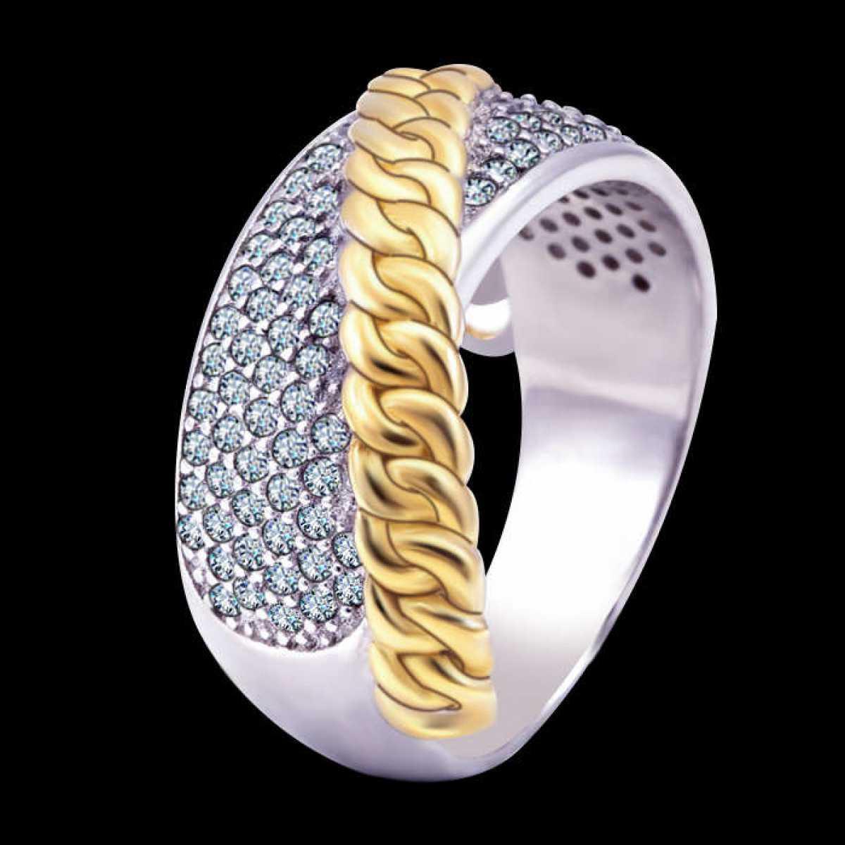 ROyal gold belt sterling silver ring