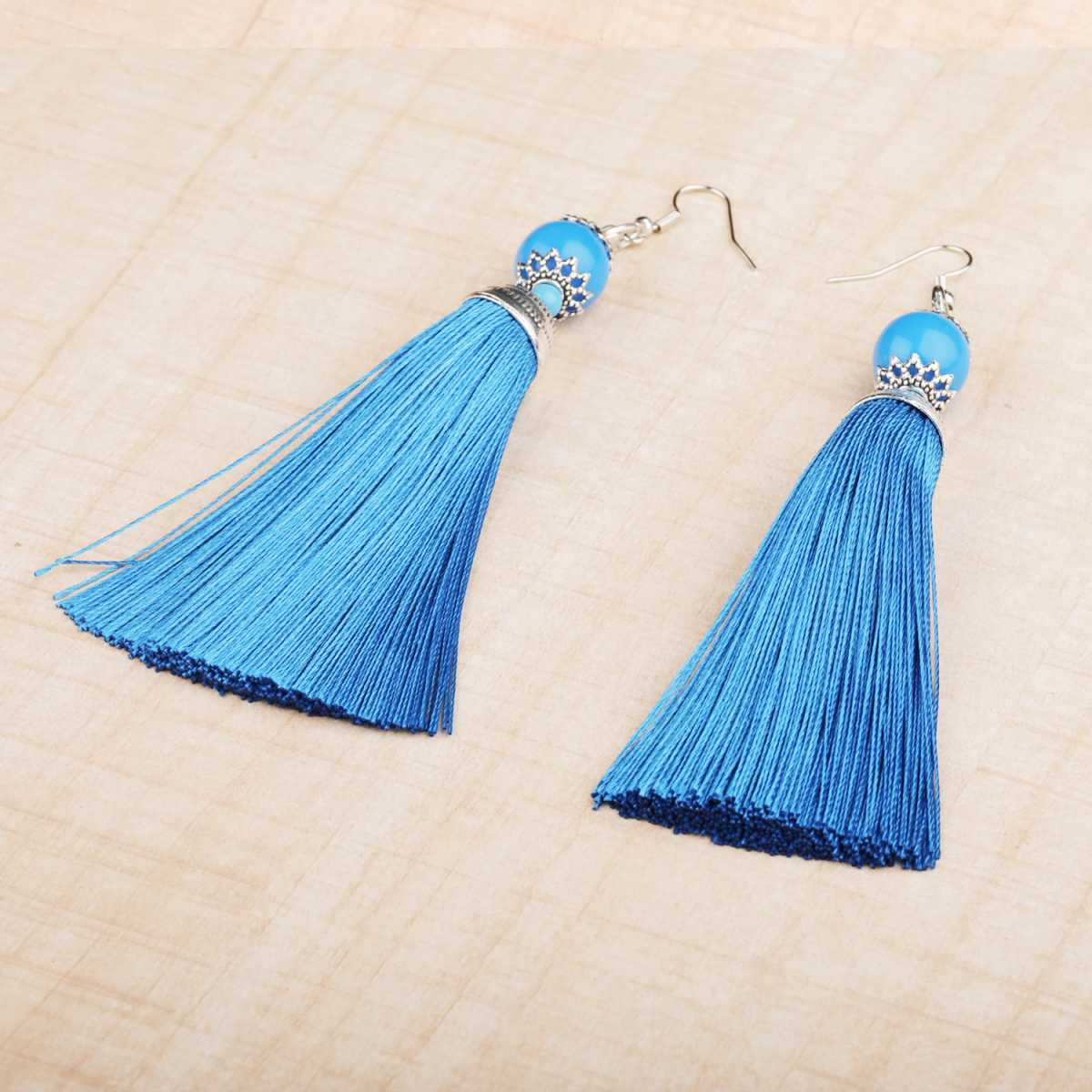 silver shine Trendy Long Thread Tassel