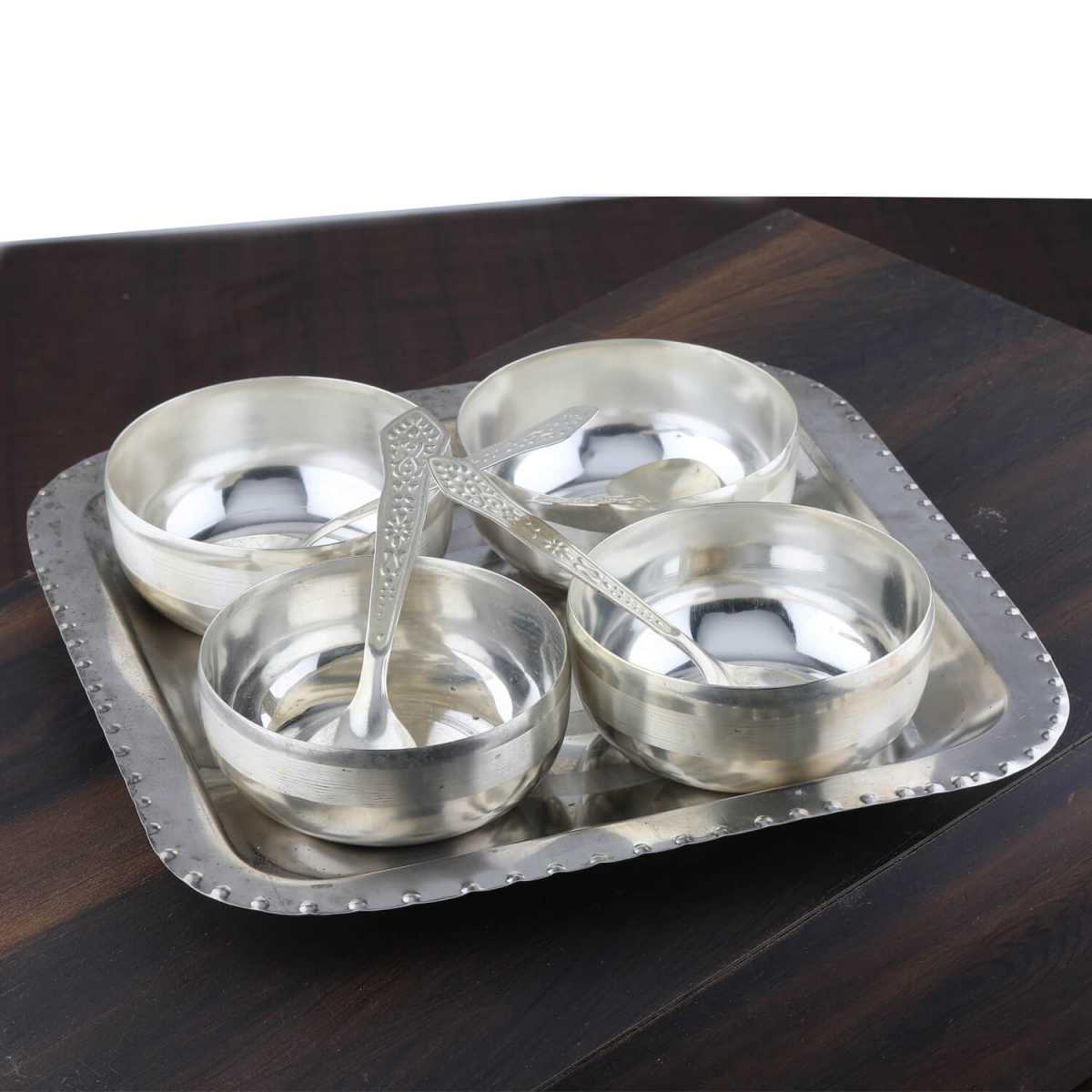 Silver Shine  Silver Plated Decorative Bowl  Set For Gift-Set of 5