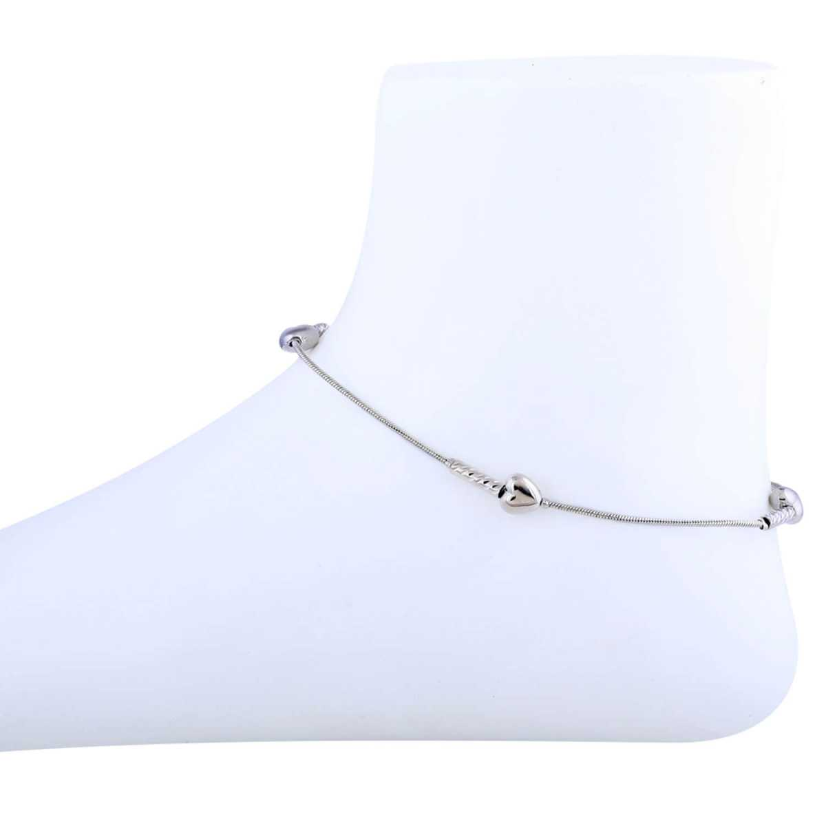 SILVER SHINE Heart Shape Silver Plated Delicate Anklet For Girl Women