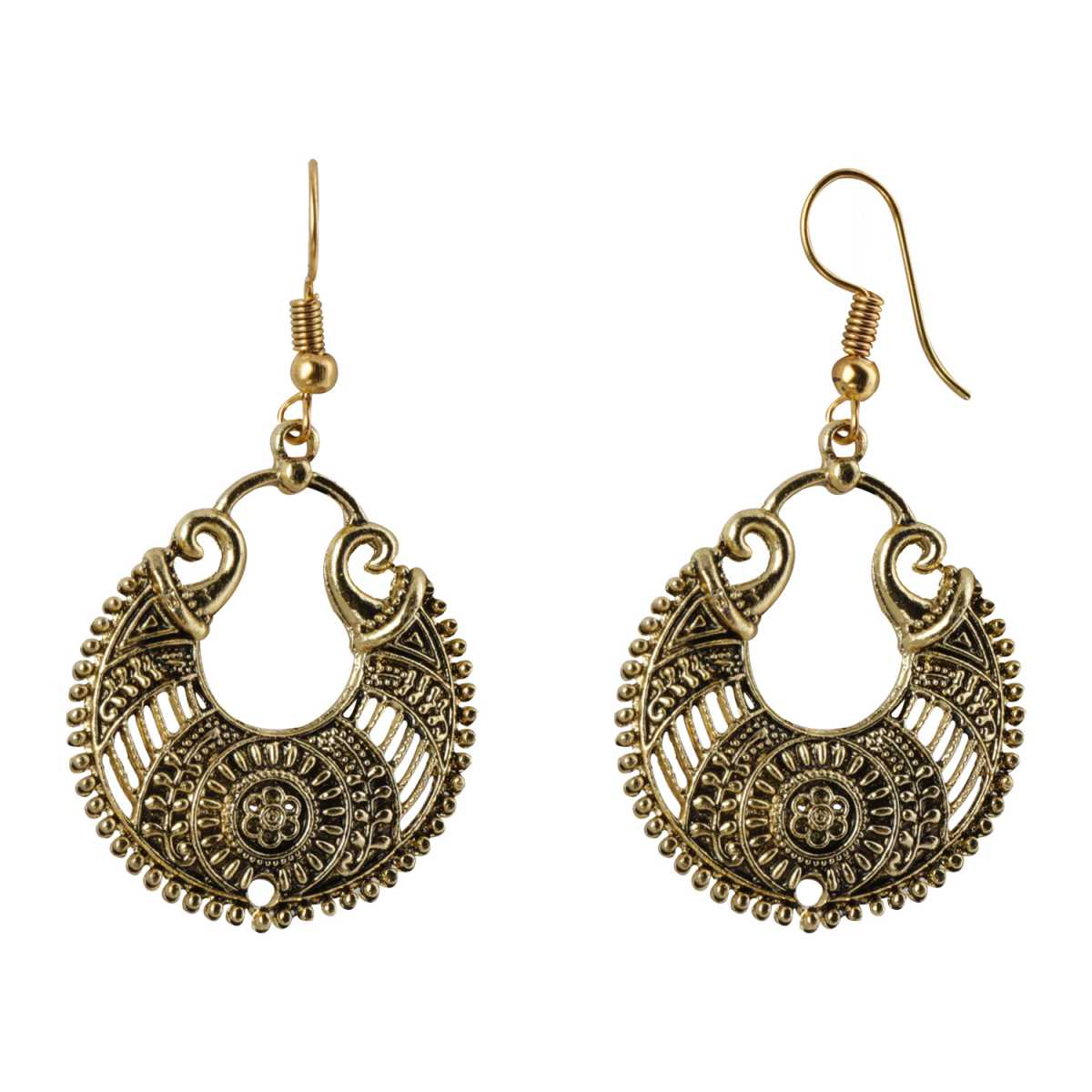 Silver Shine Stylish Arabic Design Chandbali Golden Earrings for Women