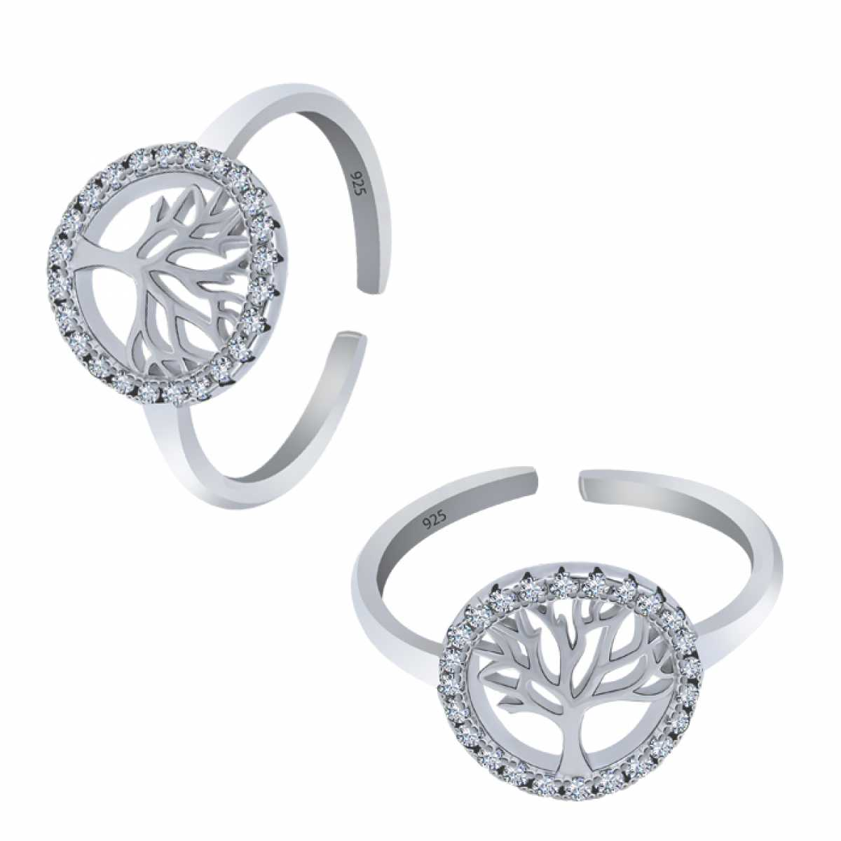 Tree Desine Silver Toe Ring