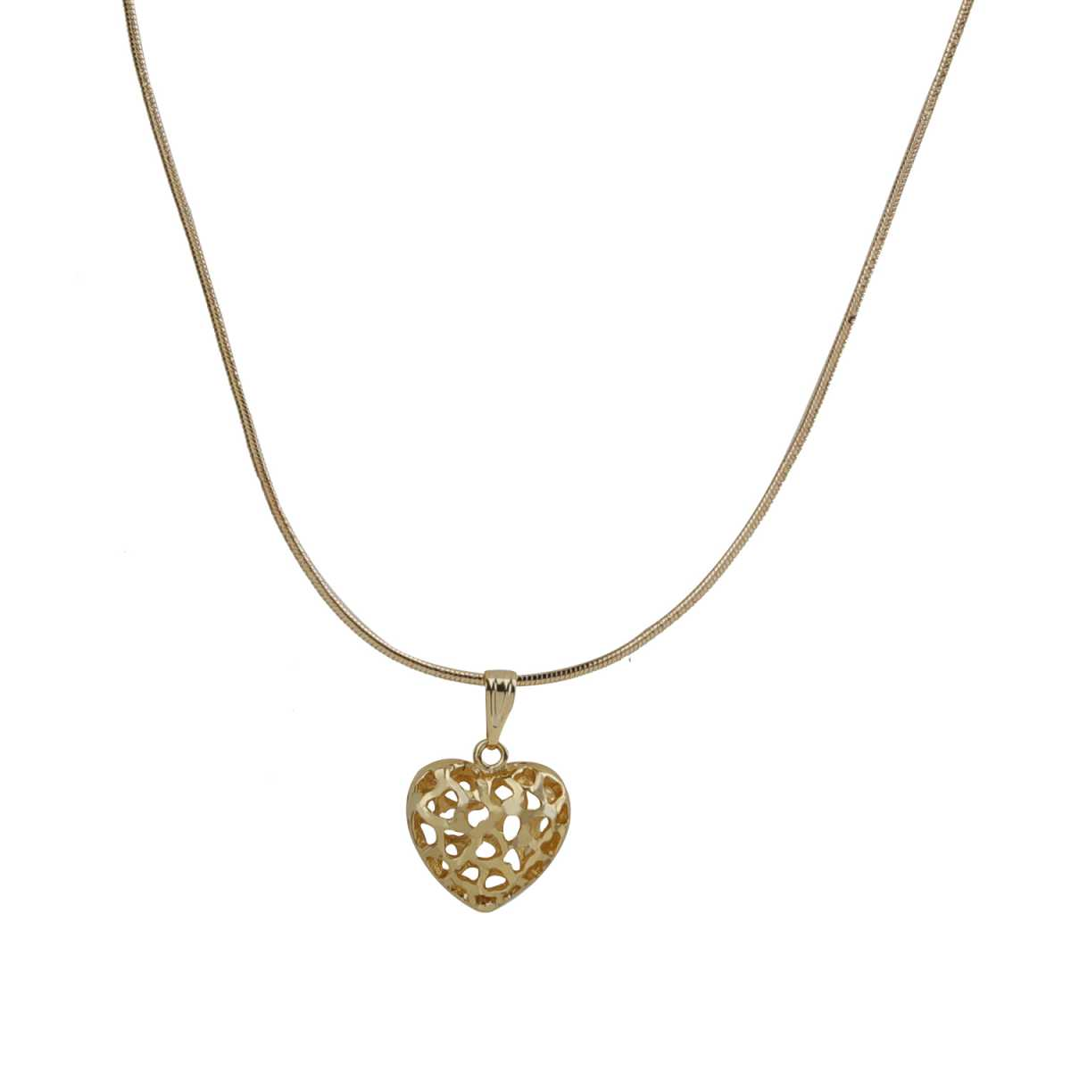 Trendy Gold Hollow Design Heart Pendent Neckless Chain Of 18 Inch For Girls And Women Jewellery