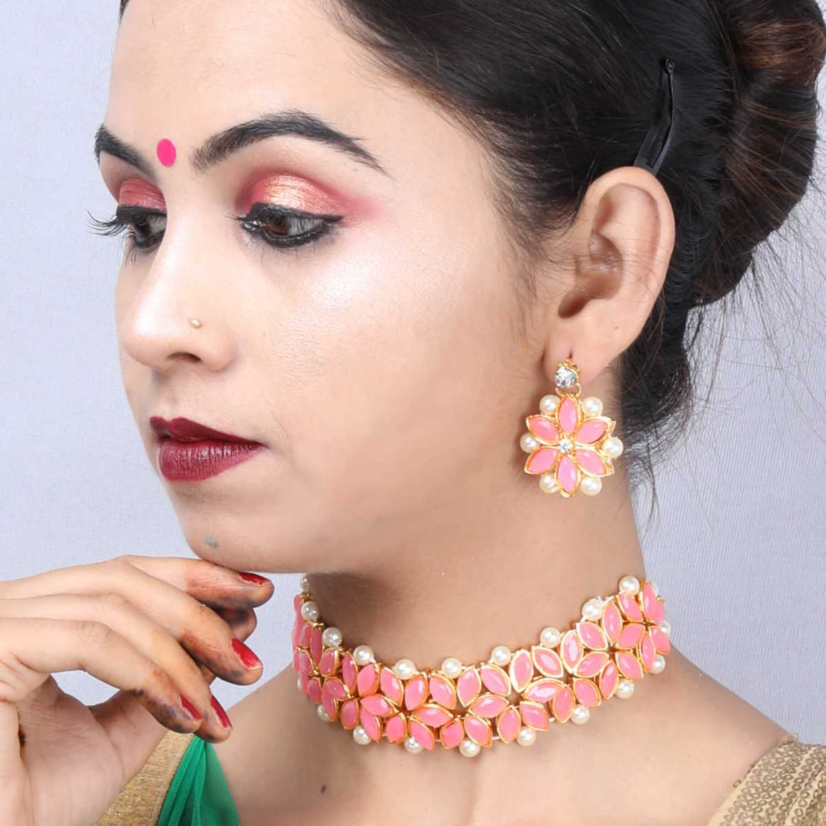 SILVER SHINE Gold Plated Exclusive Baby Pink Stone Choker Set For Girls And Women