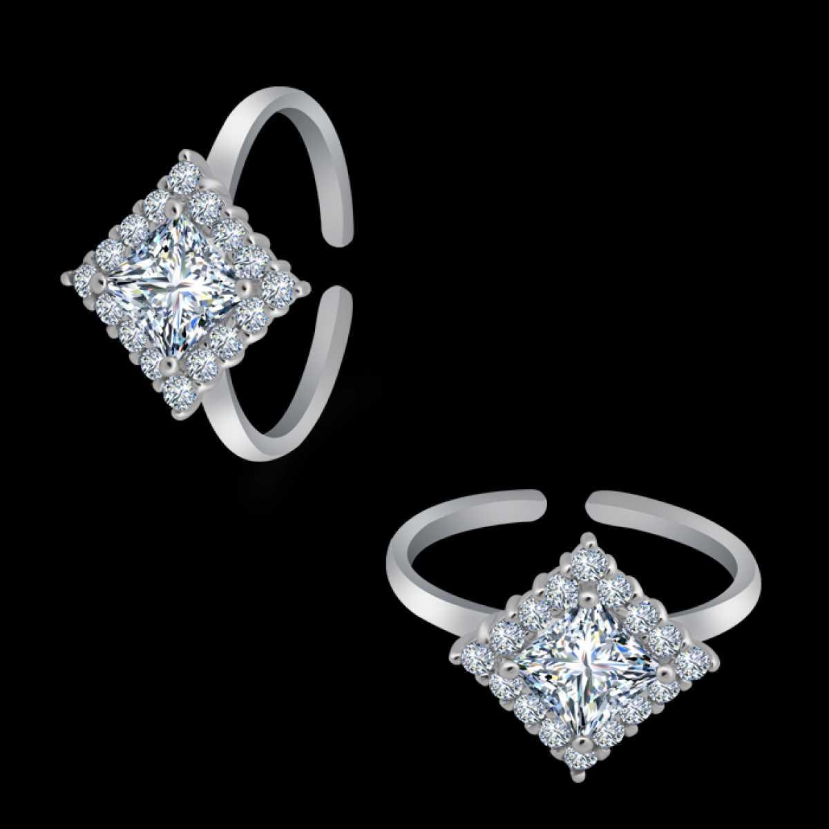 Big Squire Silver Diamond Toe Ring