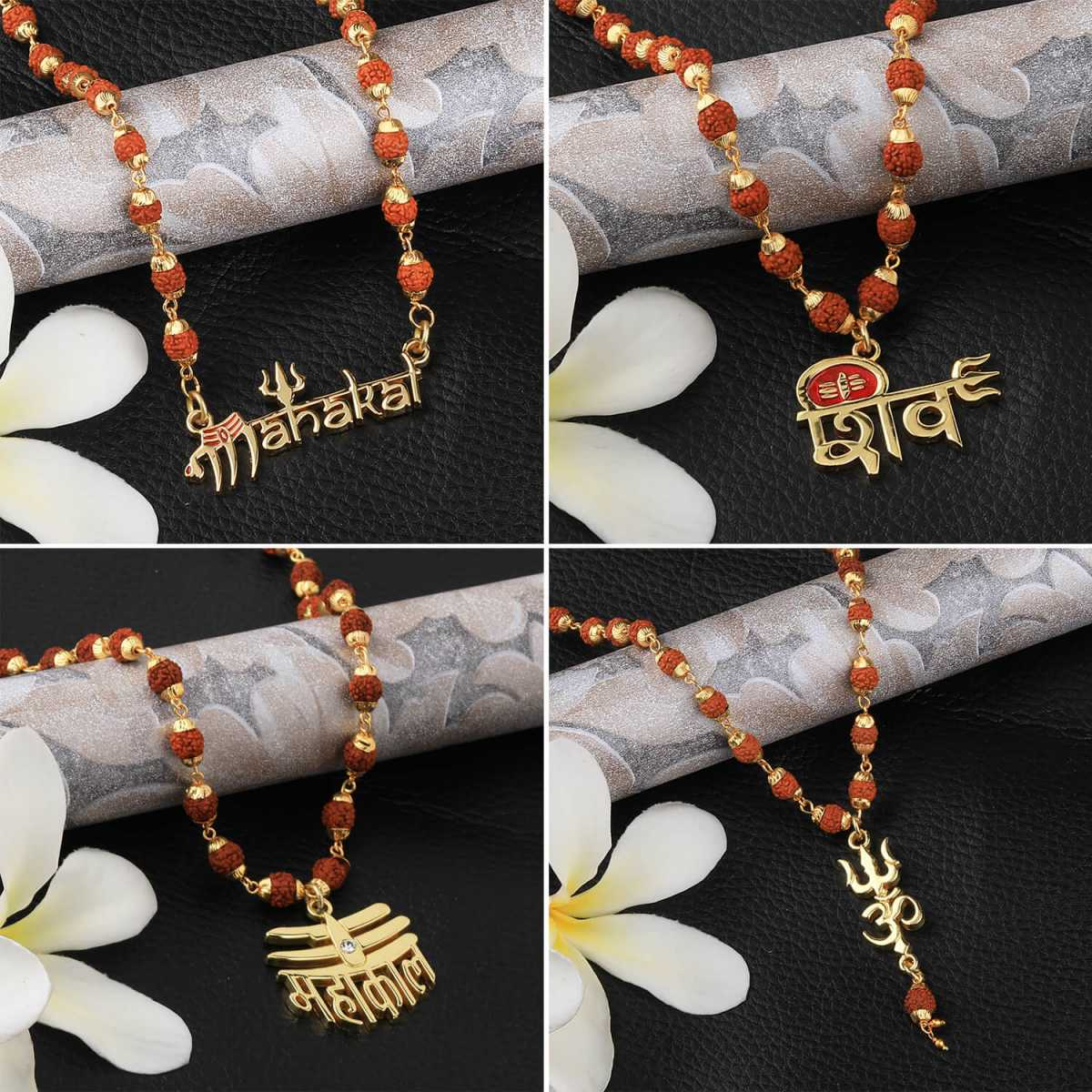SILVER SHINE Gold Plated Traditional Combo Rudraksh Mala Pendant Locket for Men and Women-set 4