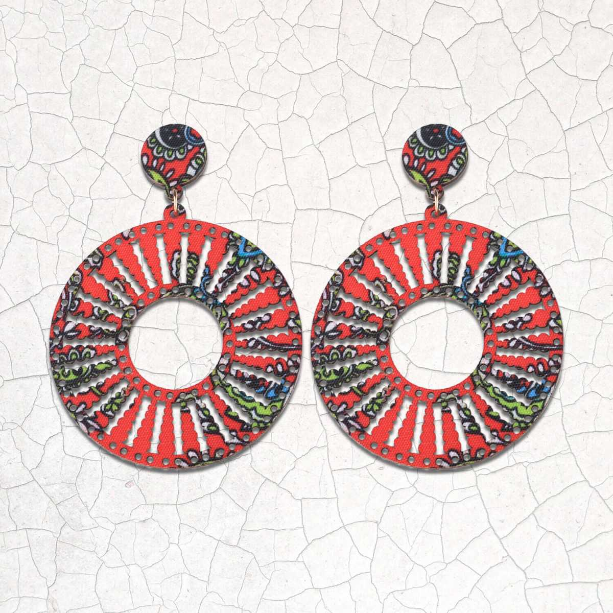 SILVER SHINE Ethnic Round Drop Wooden Light Weight Earrings for Girls and Women.