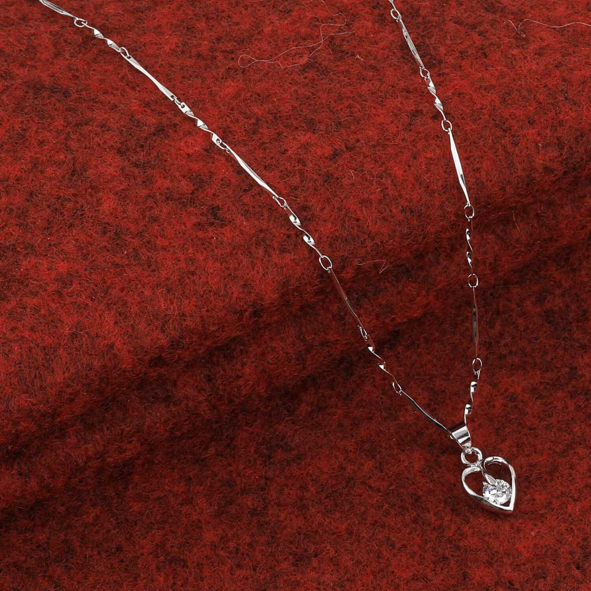 SILVER SHINE  Silver Plated Delicated Chain With Simple Heart Solitaire Diamond Pendant For Women