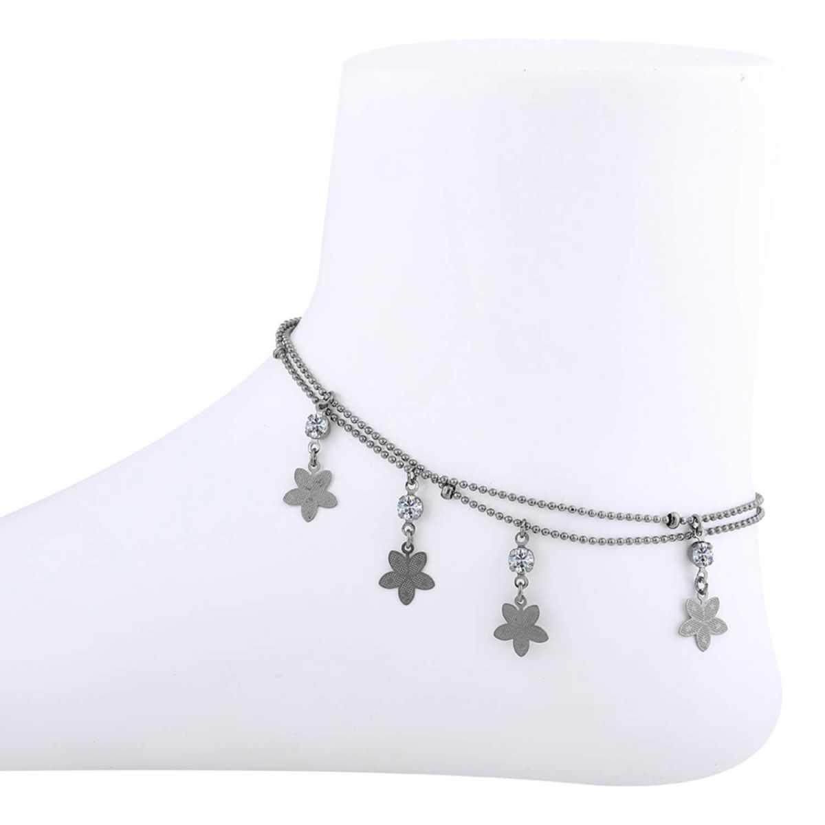 SILVER SHINE Diamond Flower shape Anklet Payal For women Girl