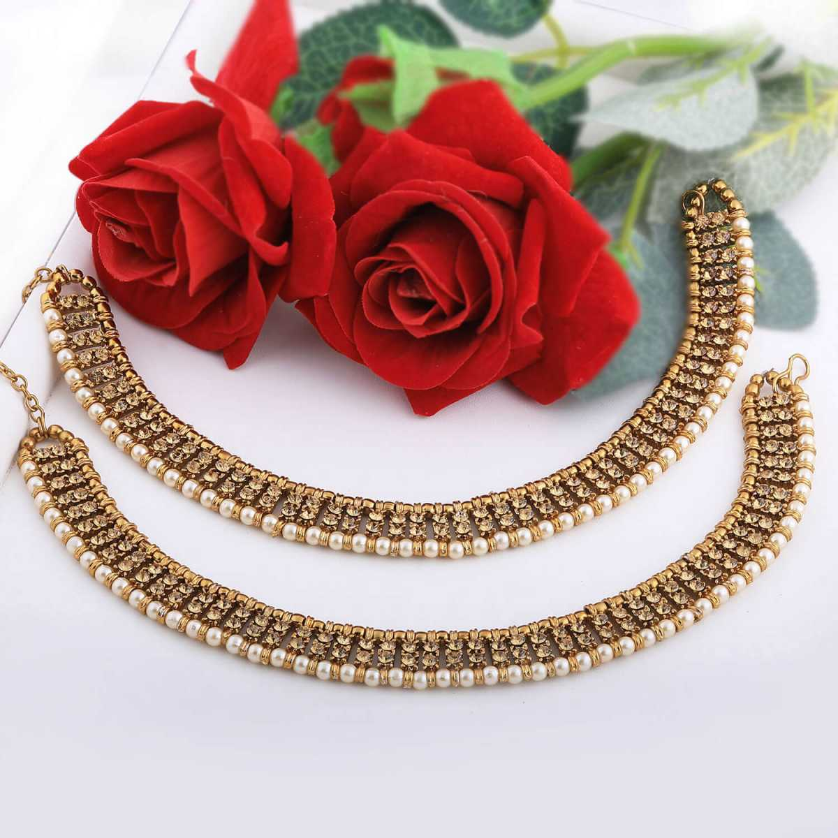 SILVER SHINE Gold plated designer pearl Diamond Anklet for Women And Girl