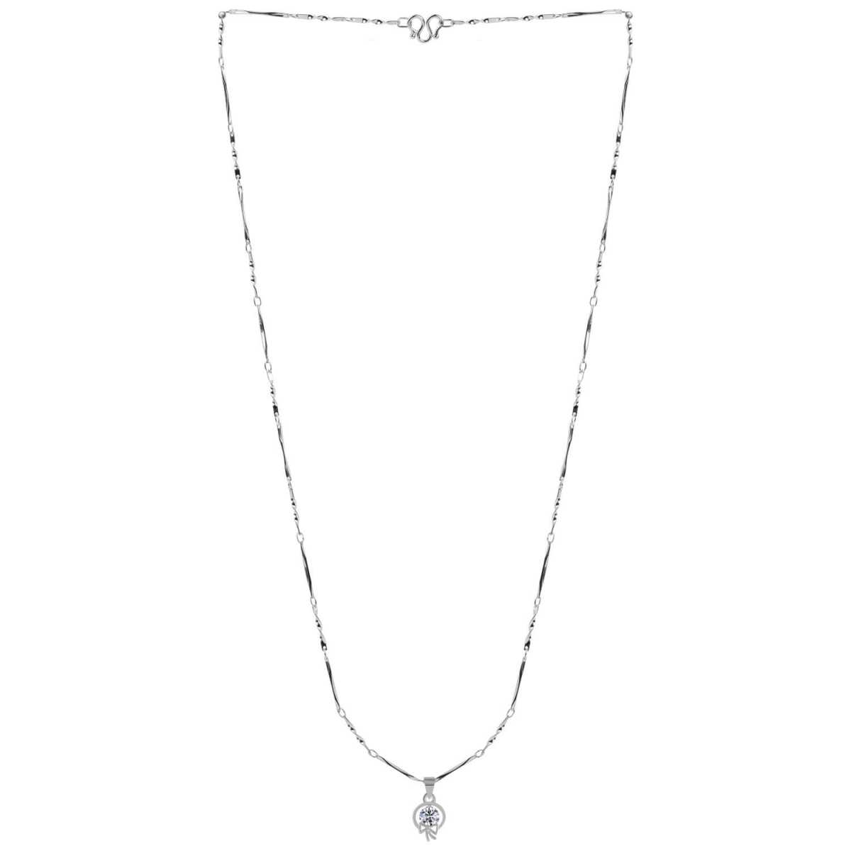 SILVER SHINE  Silver Plated Party Wear Chain With Round Stylish Solitaire Diamond Pendant For Women