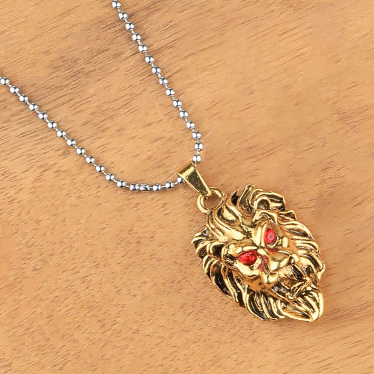 SILVERSHINE SilverPlated Attractive Chain With Lion Design Golden pendant With Diamond For Man Boy