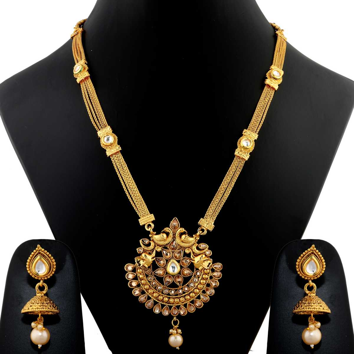 Silver Shine Exclusive Traditional  Gold Plated Antique Peacock Design & Multi Pearls Long Necklace Set  Jewellery  For Women And Girls