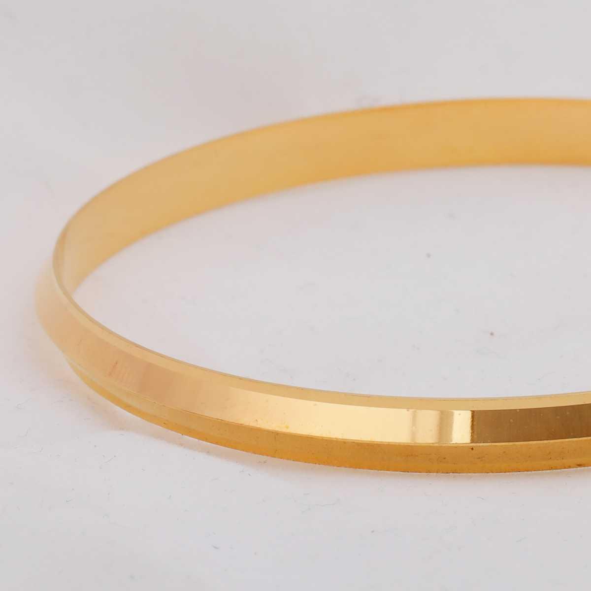 Silver Shine Gold Plated Metal Thick Punjabi Kada Bangle Bracelet For Boys and Mens.