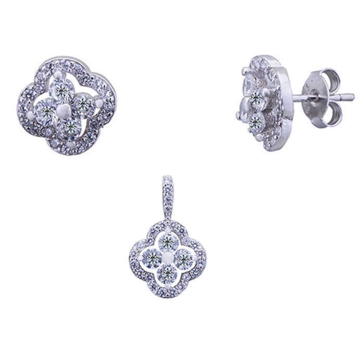 Silver Rose Flower Pendant Set