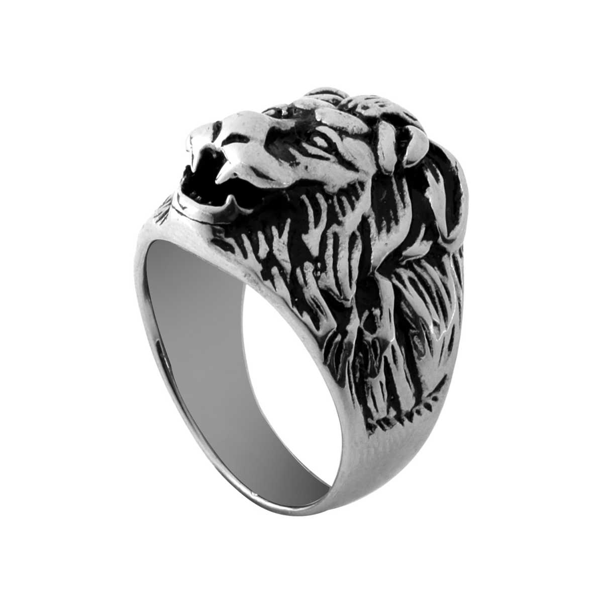 Silver Shine Stainless Steel Black Lion Face Ring For Boys and Men