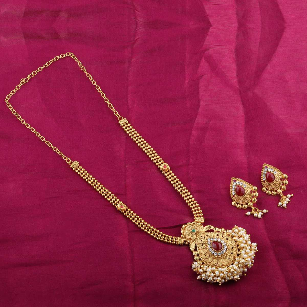 Goldplated Multicolour kundan Stone Studded Designer Long necklace for women jewellery