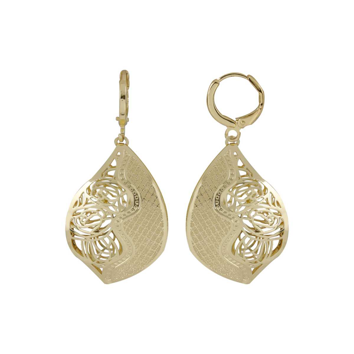 Silver Shine Alluring Golden Leaf Shape Clip On Bali Earring for Women