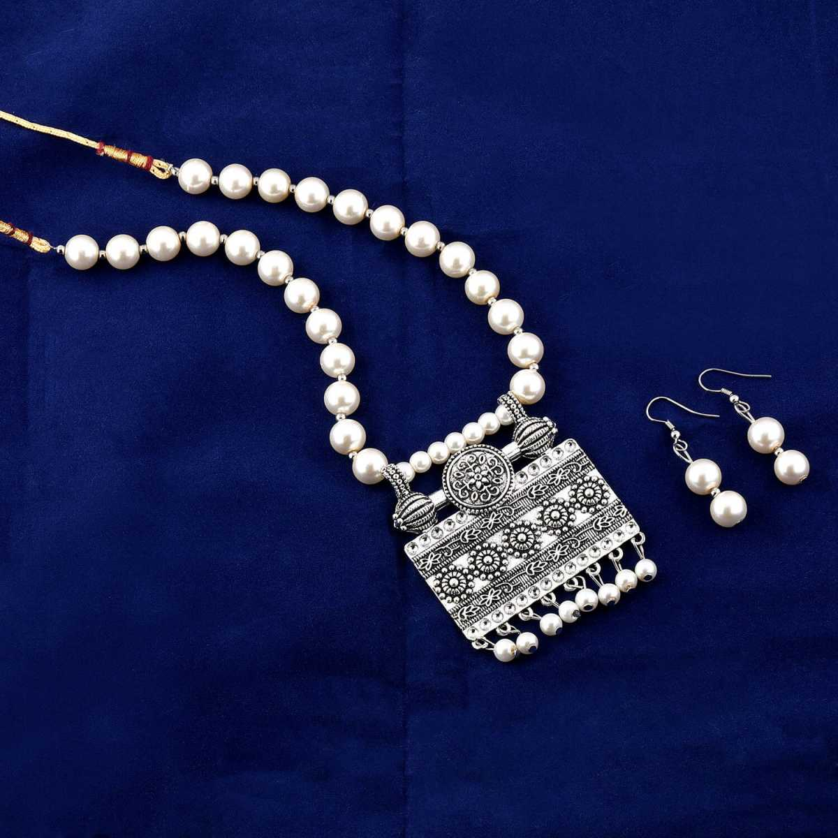 Amazing Royal Oxidised Pendant White Pearl Jewellery set for Women