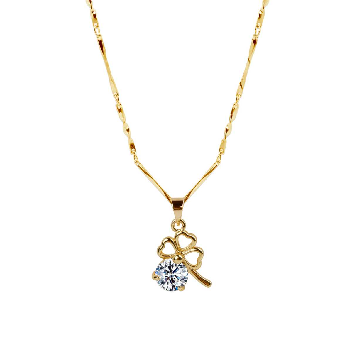 Gold  Plated Chain With Cute Flower Shape Solitaire Diamond Pendant For Women