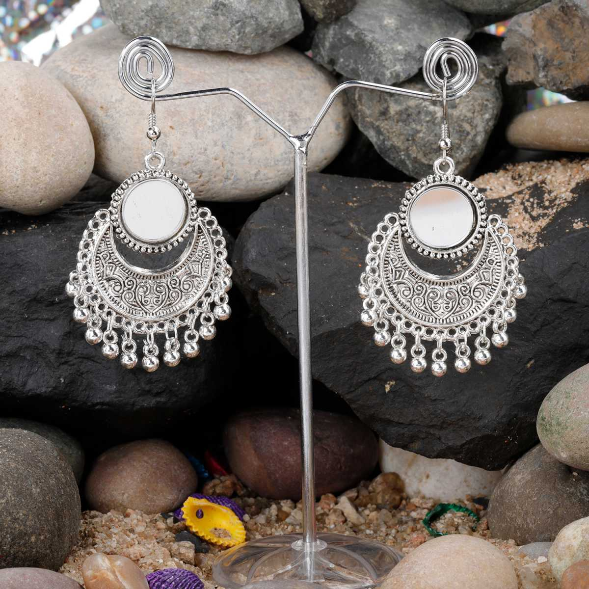 Silver Shine Ravishing Mirror Chandbali Small Dangler Earrings for Women