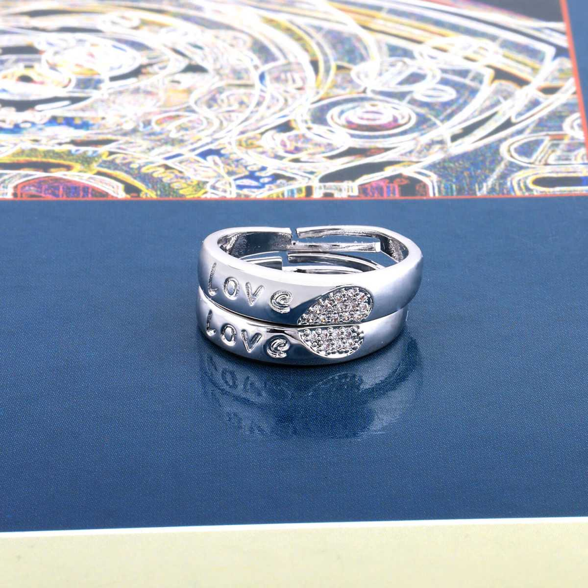 SILVERSHINE,silver plated designed with shape of heart designer adjustable couple ring for men and women.