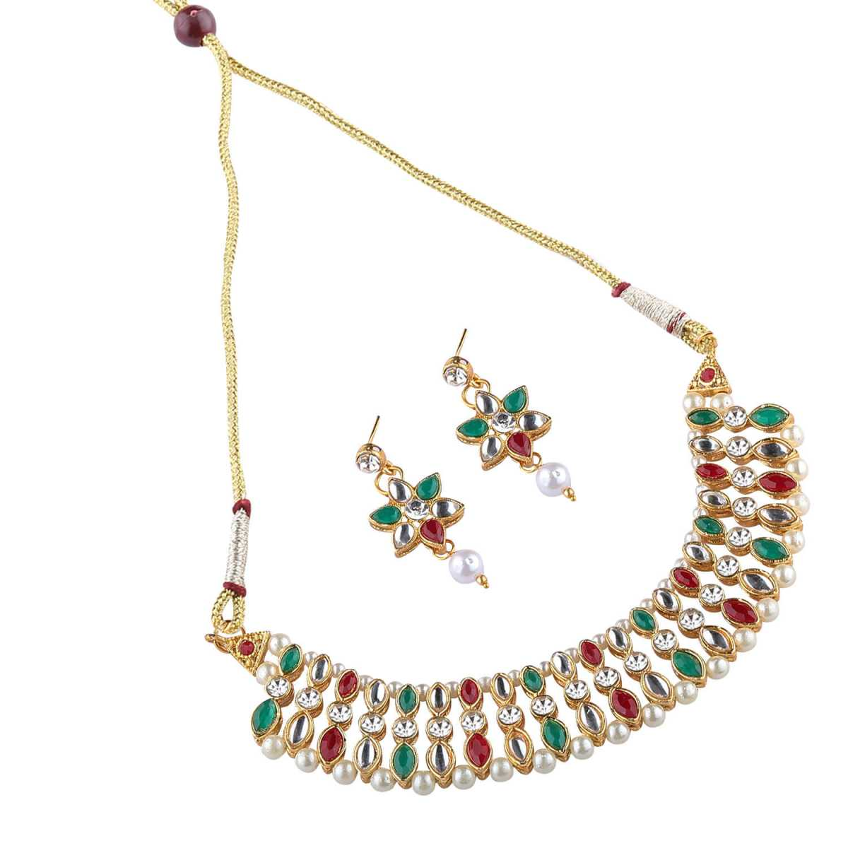 Goldplated Multicolour Stone studded necklace set for women jewellery