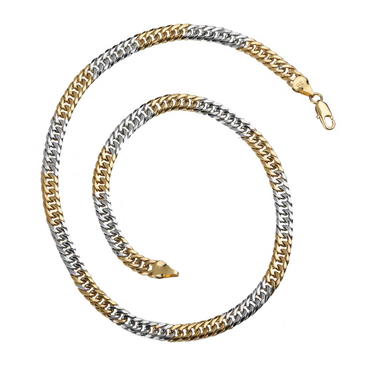 Silver Shine Charming  Gold Plated Stainless Steel Snake Style Chain 18 Inch Daily Wear Jewellry For Boys And Men